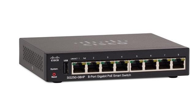 8-Port Gigabit PoE Smart Switch CISCO SG250-08HP-K9-EU